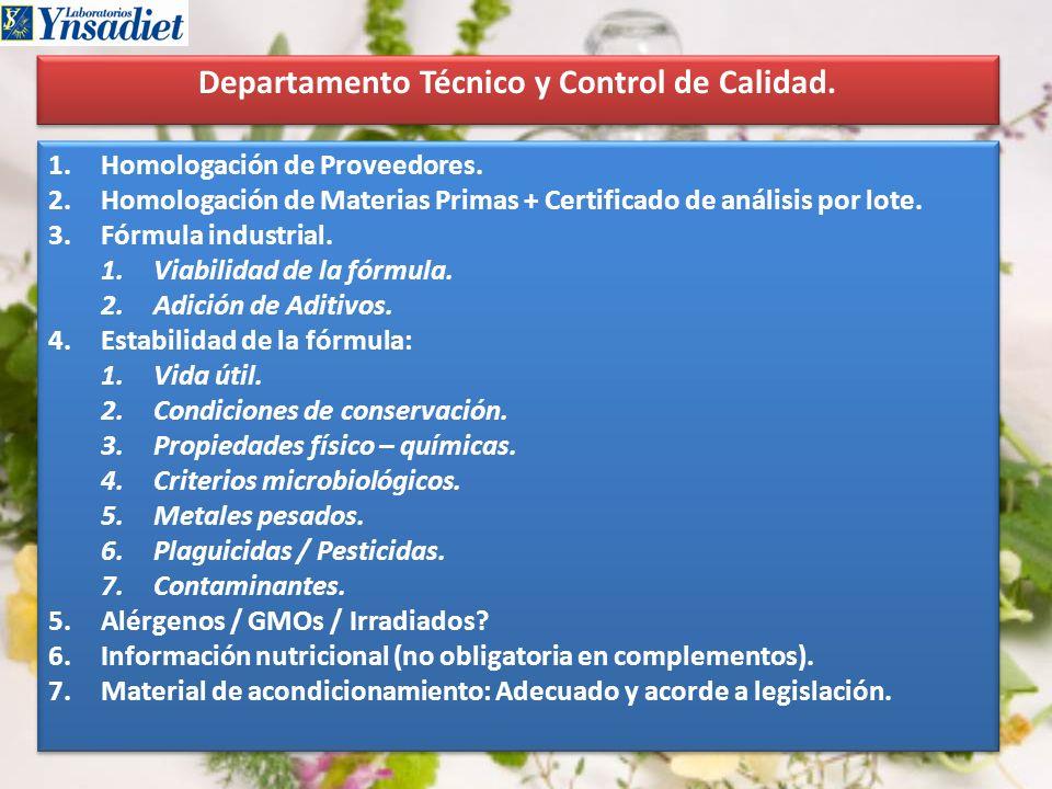 Departamento Técnico y Control de Calidad.