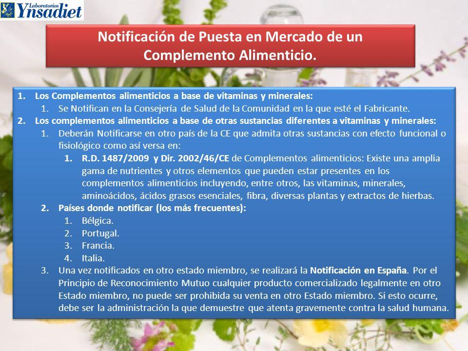 Notificación de Puesta en Mercado de un Complemento Alimenticio.