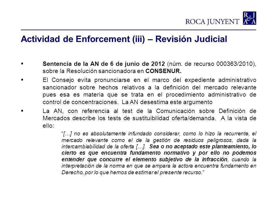 Actividad de Enforcement (iii) – Revisión Judicial