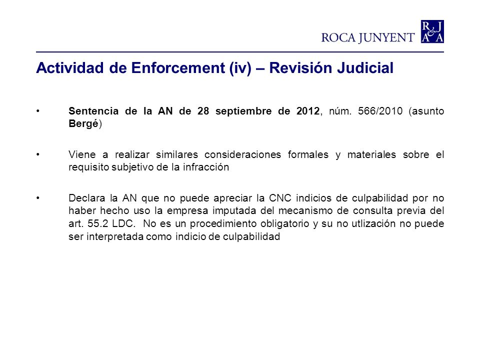 Actividad de Enforcement (iv) – Revisión Judicial