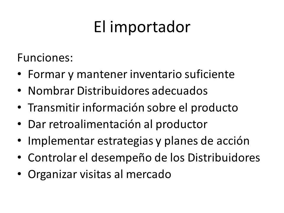 El importador Funciones: Formar y mantener inventario suficiente
