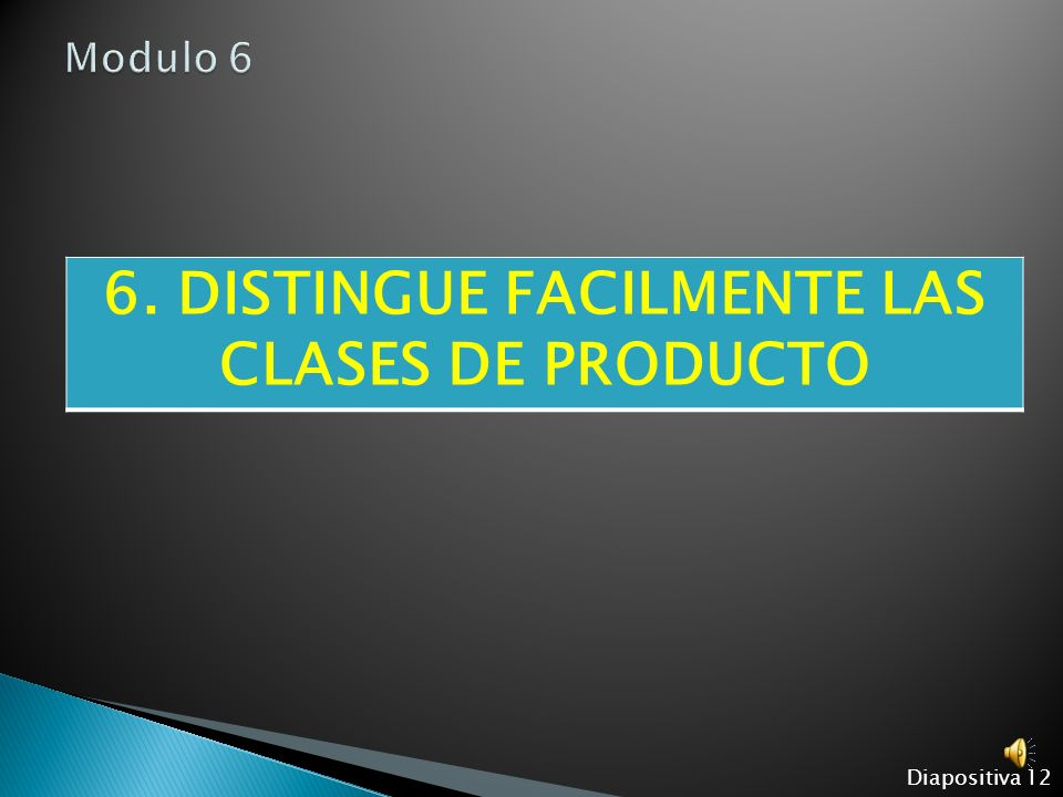 6. DISTINGUE FACILMENTE LAS CLASES DE PRODUCTO