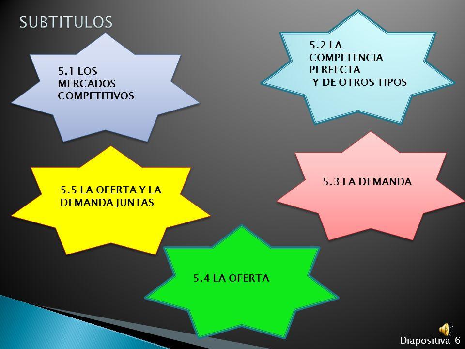SUBTITULOS 5.2 LA COMPETENCIA PERFECTA Y DE OTROS TIPOS