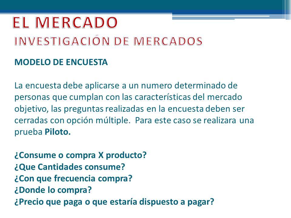 EL MERCADO INVESTIGACIÓN DE MERCADOS MODELO DE ENCUESTA