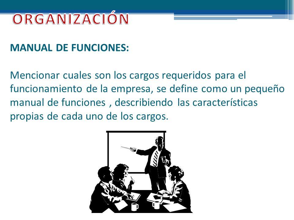 ORGANIZACIÓN MANUAL DE FUNCIONES: