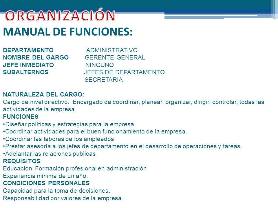 ORGANIZACIÓN MANUAL DE FUNCIONES: DEPARTAMENTO ADMINISTRATIVO