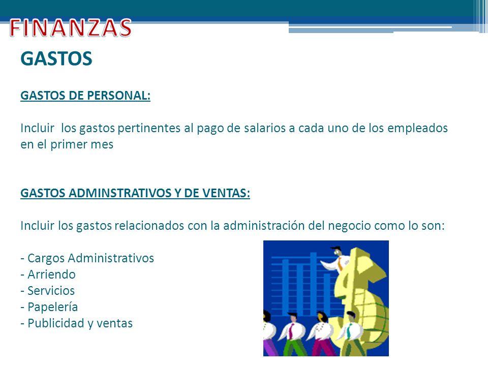 FINANZAS GASTOS GASTOS DE PERSONAL: