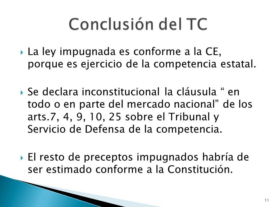 Conclusión del TC La ley impugnada es conforme a la CE, porque es ejercicio de la competencia estatal.