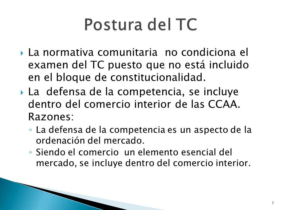 Postura del TC La normativa comunitaria no condiciona el examen del TC puesto que no está incluido en el bloque de constitucionalidad.