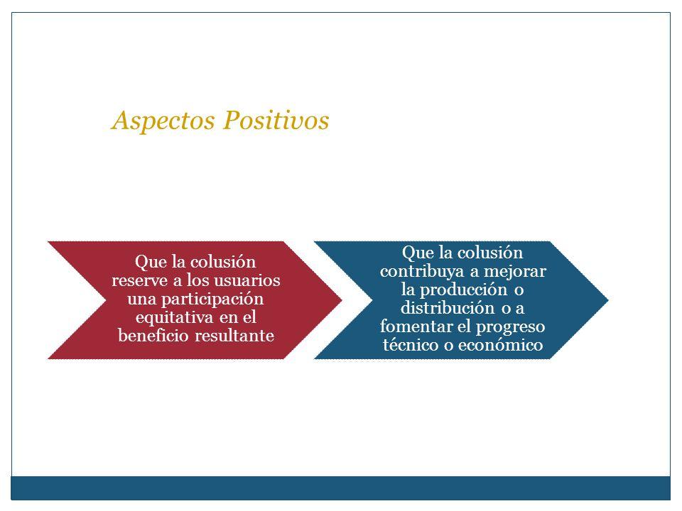 Aspectos Positivos Que la colusión reserve a los usuarios una participación equitativa en el beneficio resultante.