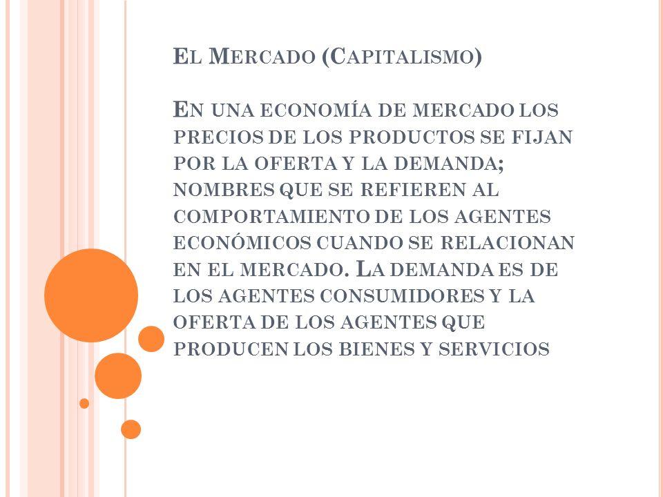 El Mercado (Capitalismo) En una economía de mercado los precios de los productos se fijan por la oferta y la demanda; nombres que se refieren al comportamiento de los agentes económicos cuando se relacionan en el mercado.