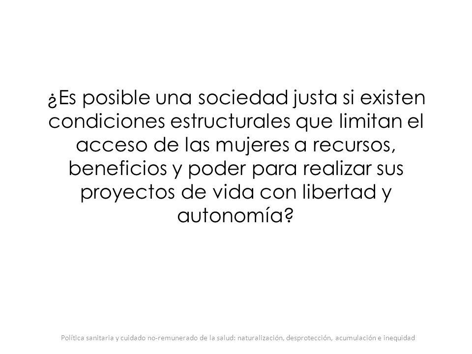¿Es posible una sociedad justa si existen condiciones estructurales que limitan el acceso de las mujeres a recursos, beneficios y poder para realizar sus proyectos de vida con libertad y autonomía