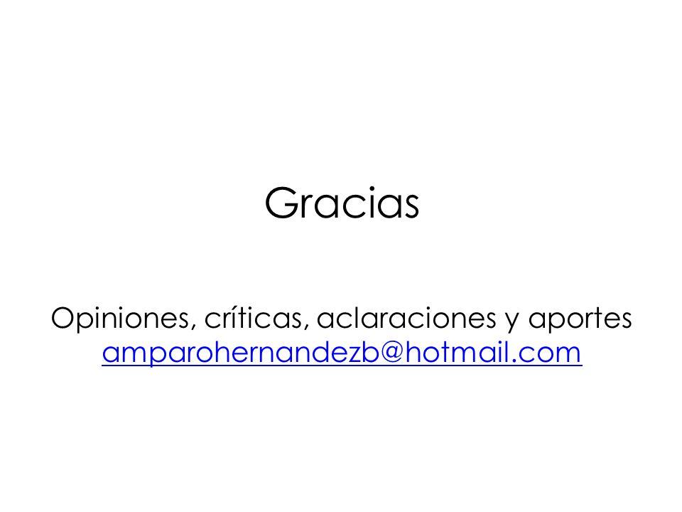 Gracias Opiniones, críticas, aclaraciones y aportes amparohernandezb@hotmail.com