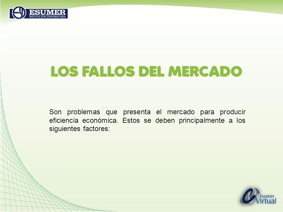 Son problemas que presenta el mercado para producir eficiencia económica.