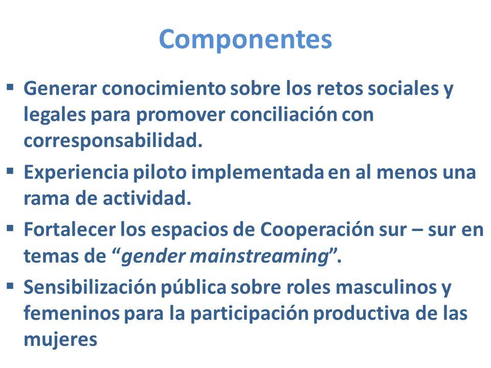 Componentes Generar conocimiento sobre los retos sociales y legales para promover conciliación con corresponsabilidad.