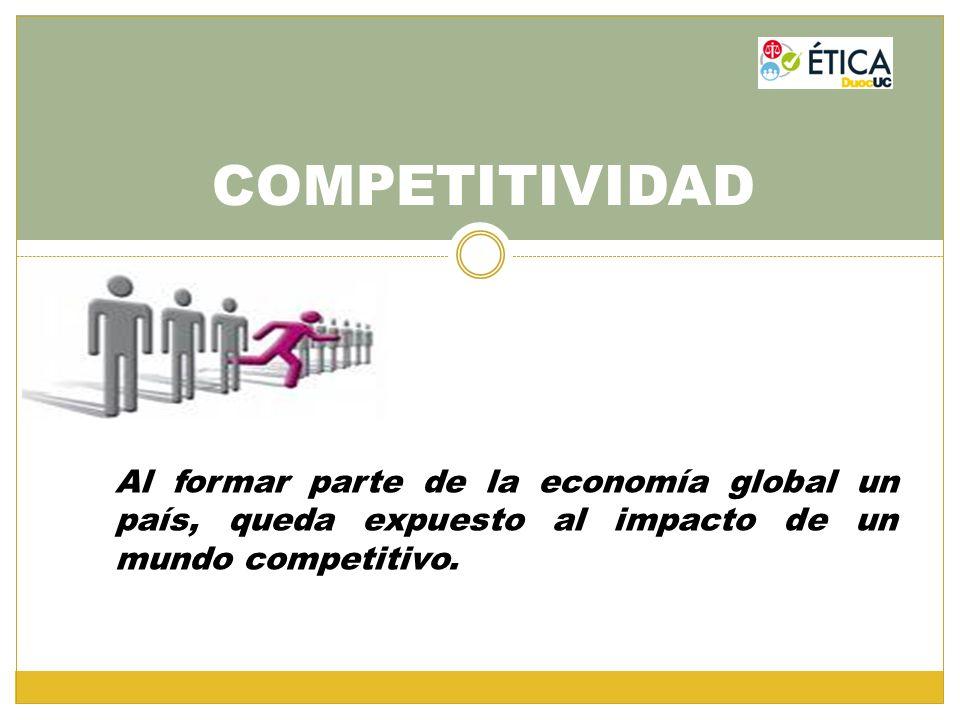 COMPETITIVIDAD Al formar parte de la economía global un país, queda expuesto al impacto de un mundo competitivo.