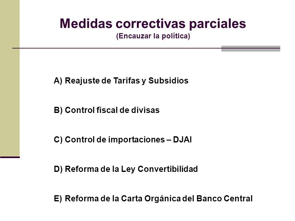 Medidas correctivas parciales (Encauzar la política)