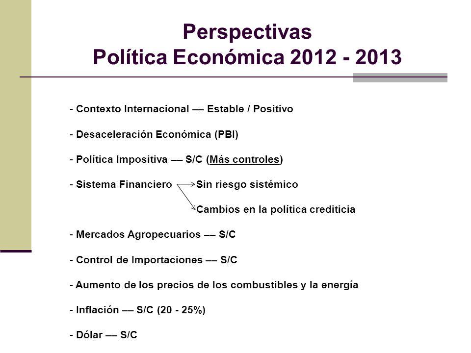 Perspectivas Política Económica 2012 - 2013