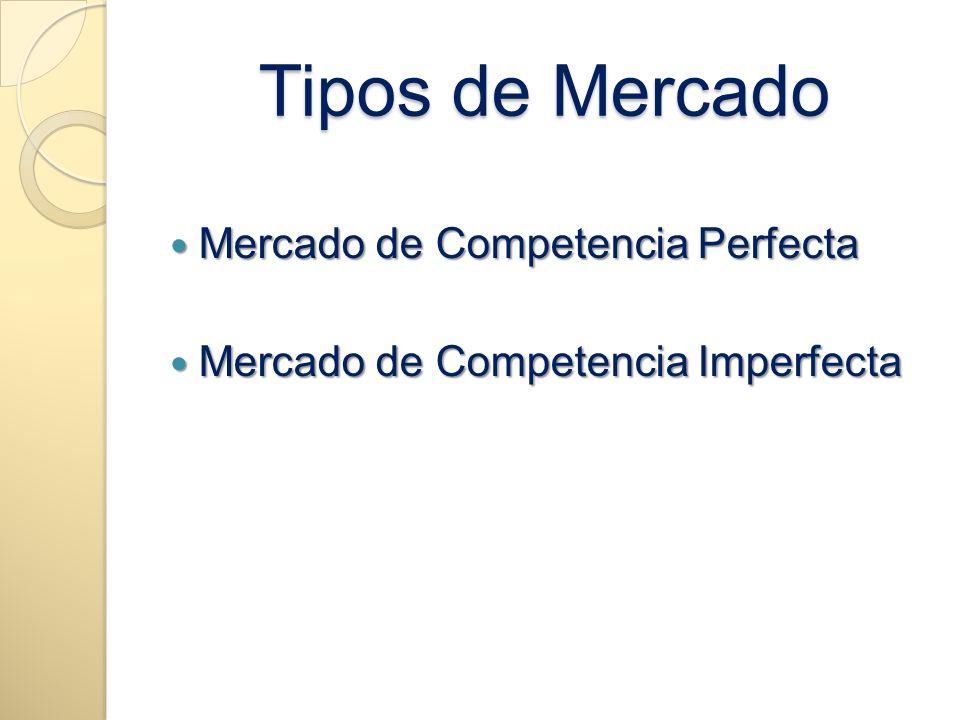 Tipos de Mercado Mercado de Competencia Perfecta