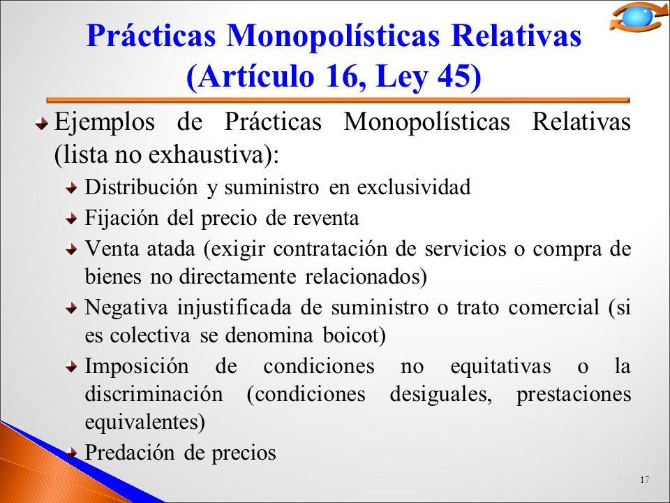 Prácticas Monopolísticas Relativas (Artículo 16, Ley 45)