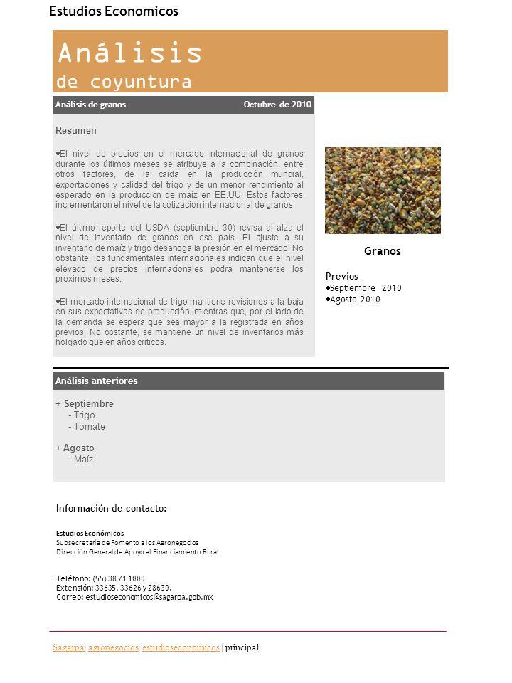 Análisis de coyuntura Estudios Economicos Granos Resumen