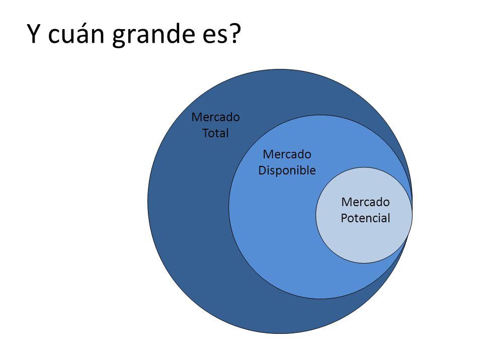 Y cuán grande es Mercado Total Mercado Disponible Mercado Potencial