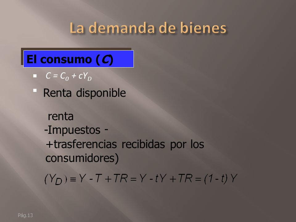 La demanda de bienes El consumo (C) Renta disponible renta -Impuestos