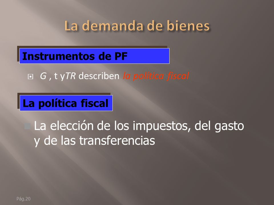 La demanda de bienes Instrumentos de PF. G , t yTR describen la política fiscal. La política fiscal.