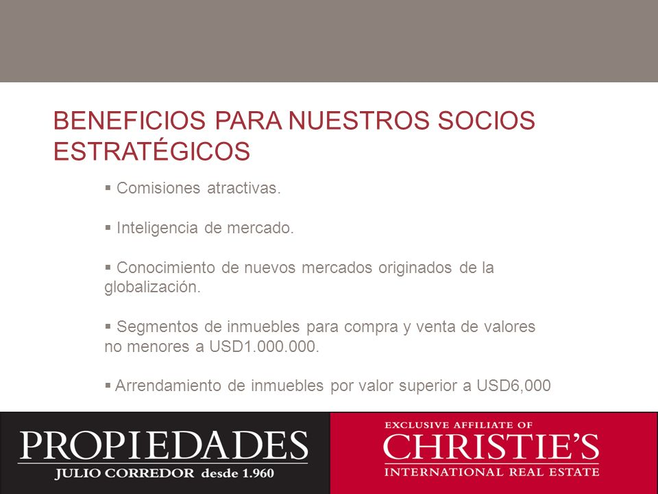 BENEFICIOS PARA NUESTROS SOCIOS ESTRATÉGICOS