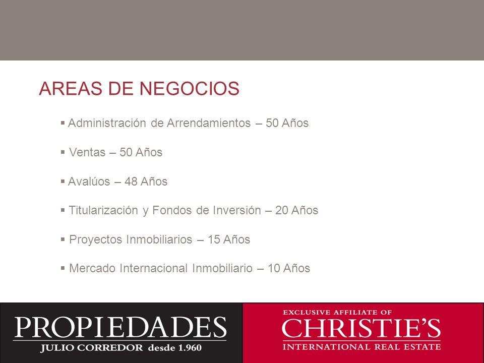 AREAS DE NEGOCIOS C Administración de Arrendamientos – 50 Años