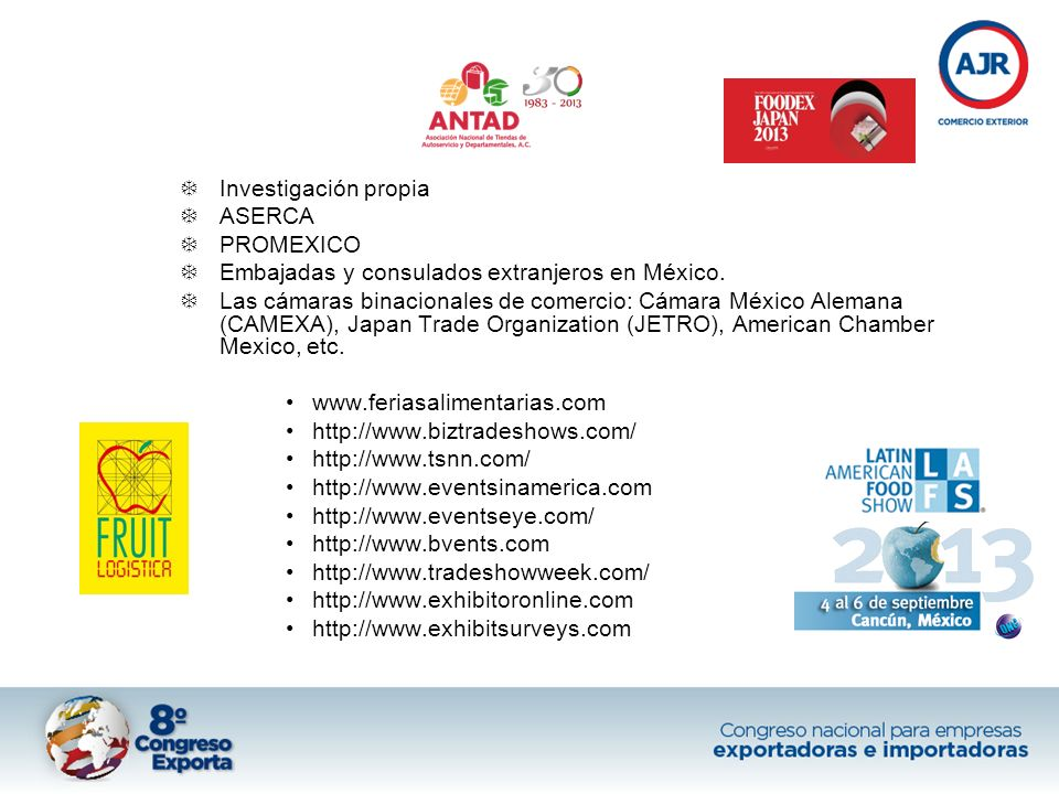 Investigación propia ASERCA. PROMEXICO. Embajadas y consulados extranjeros en México.