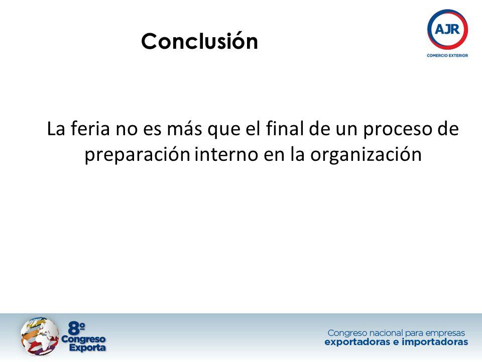 Conclusión La feria no es más que el final de un proceso de preparación interno en la organización
