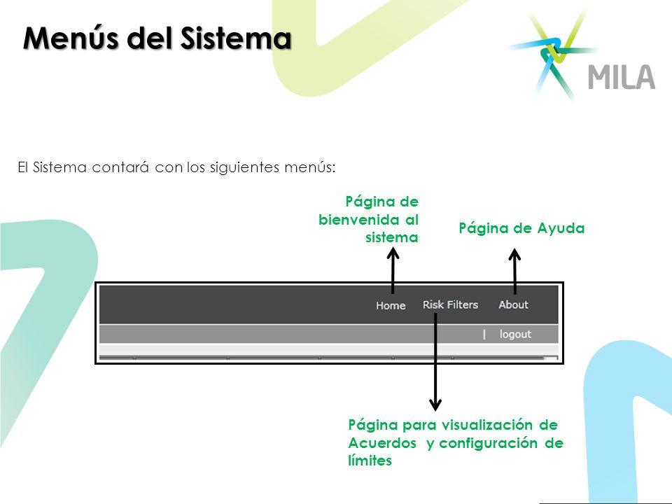 Menús del Sistema El Sistema contará con los siguientes menús: