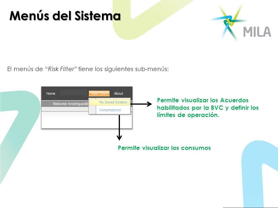 Menús del Sistema El menús de Risk Filter tiene los siguientes sub-menús: