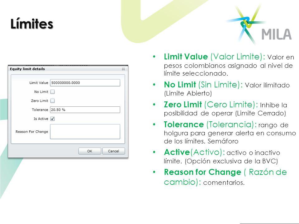 Límites Limit Value (Valor Limite): Valor en pesos colombianos asignado al nivel de límite seleccionado.