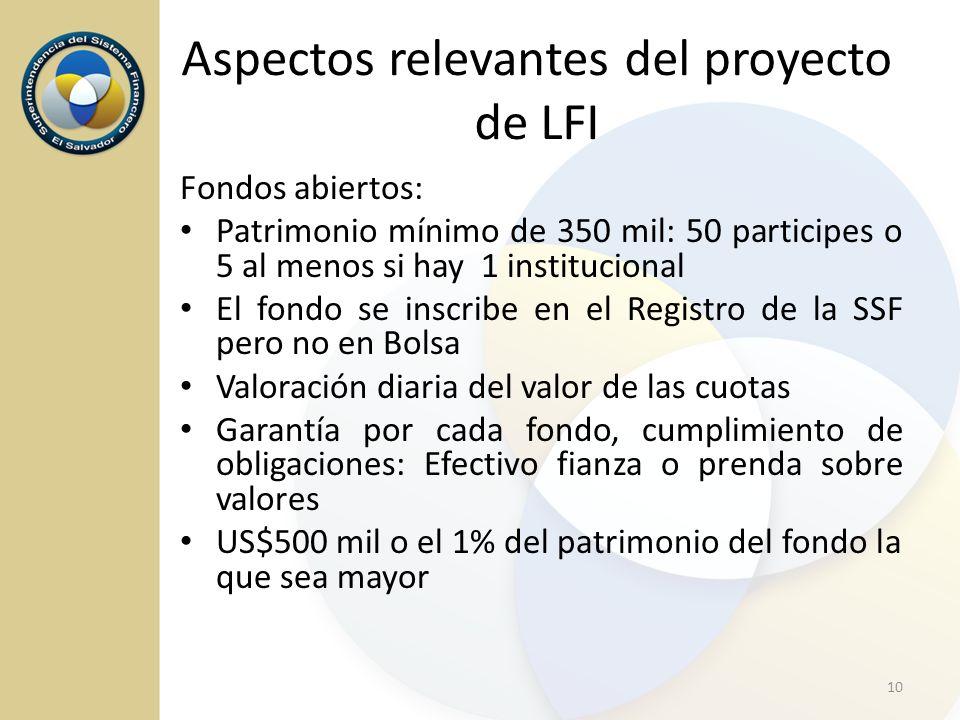 Aspectos relevantes del proyecto de LFI