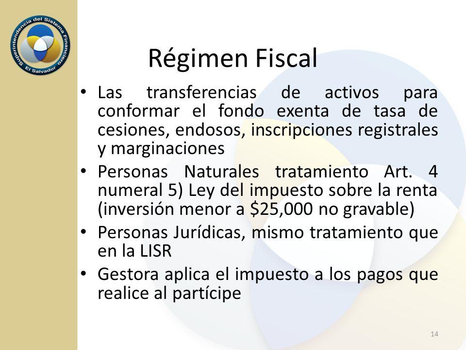 Régimen Fiscal Las transferencias de activos para conformar el fondo exenta de tasa de cesiones, endosos, inscripciones registrales y marginaciones.