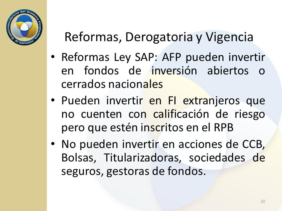 Reformas, Derogatoria y Vigencia