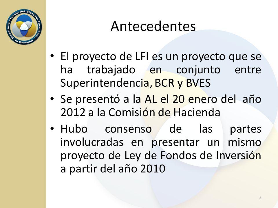 Antecedentes El proyecto de LFI es un proyecto que se ha trabajado en conjunto entre Superintendencia, BCR y BVES.