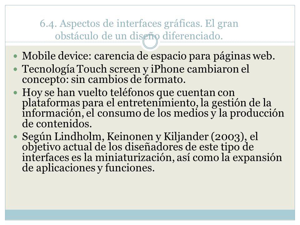 Mobile device: carencia de espacio para páginas web.