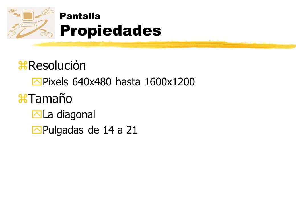 Resolución Tamaño Pixels 640x480 hasta 1600x1200 La diagonal