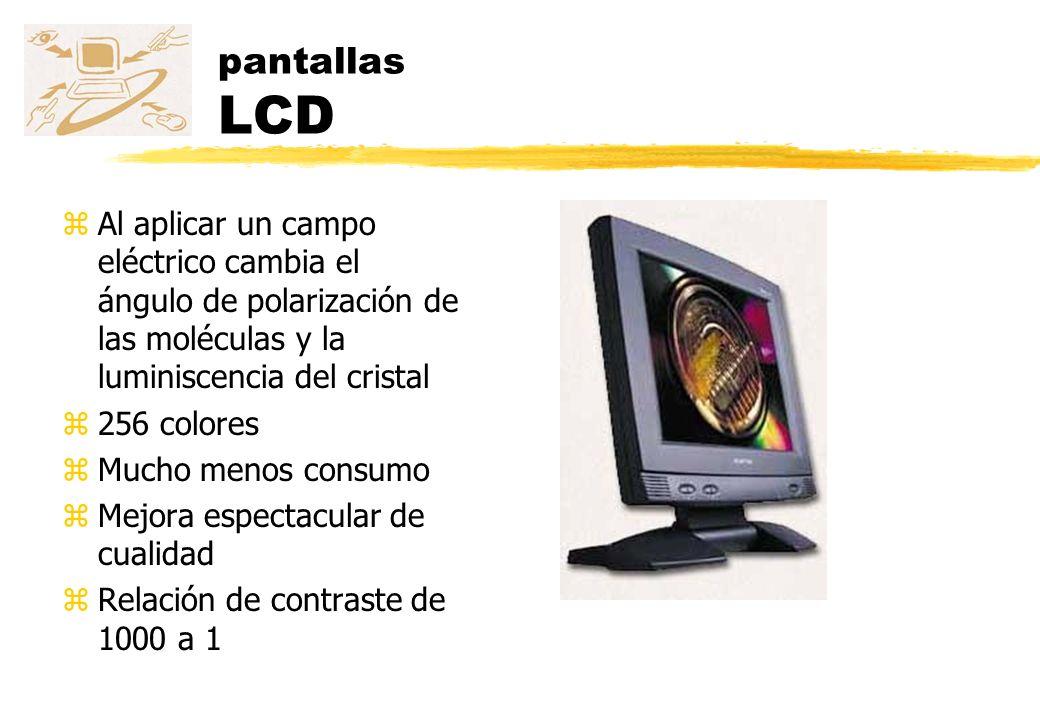 pantallas LCD Al aplicar un campo eléctrico cambia el ángulo de polarización de las moléculas y la luminiscencia del cristal.