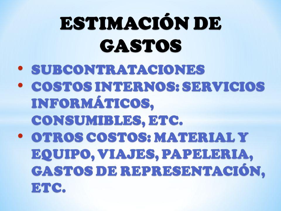 ESTIMACIÓN DE GASTOS SUBCONTRATACIONES