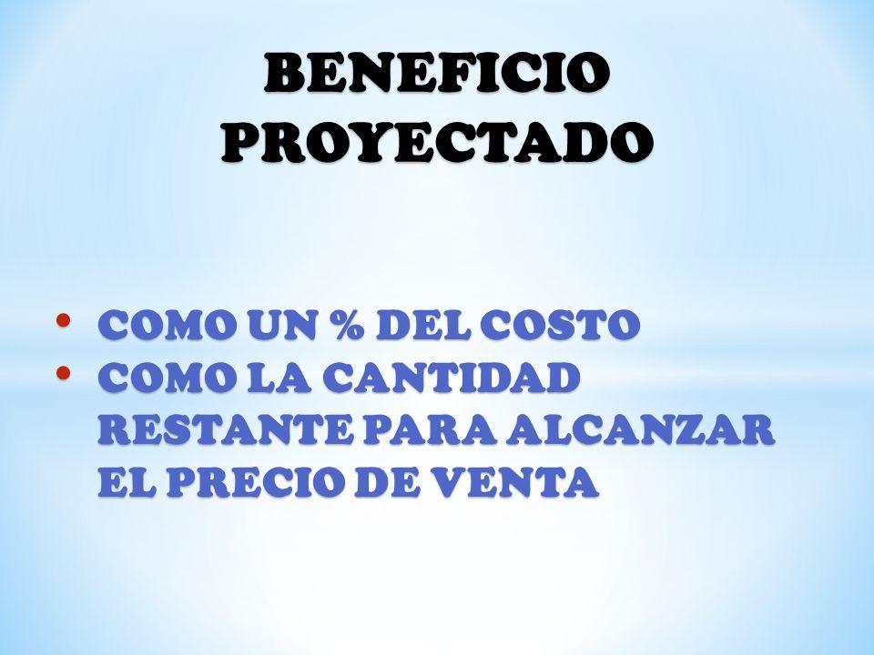 BENEFICIO PROYECTADO COMO UN % DEL COSTO