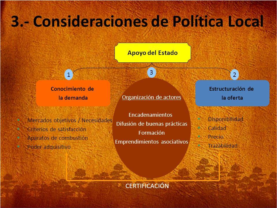 3.- Consideraciones de Política Local