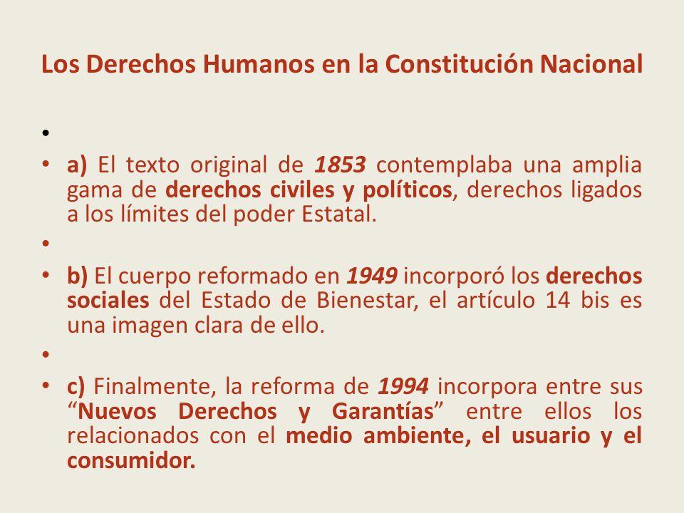 Los Derechos Humanos en la Constitución Nacional