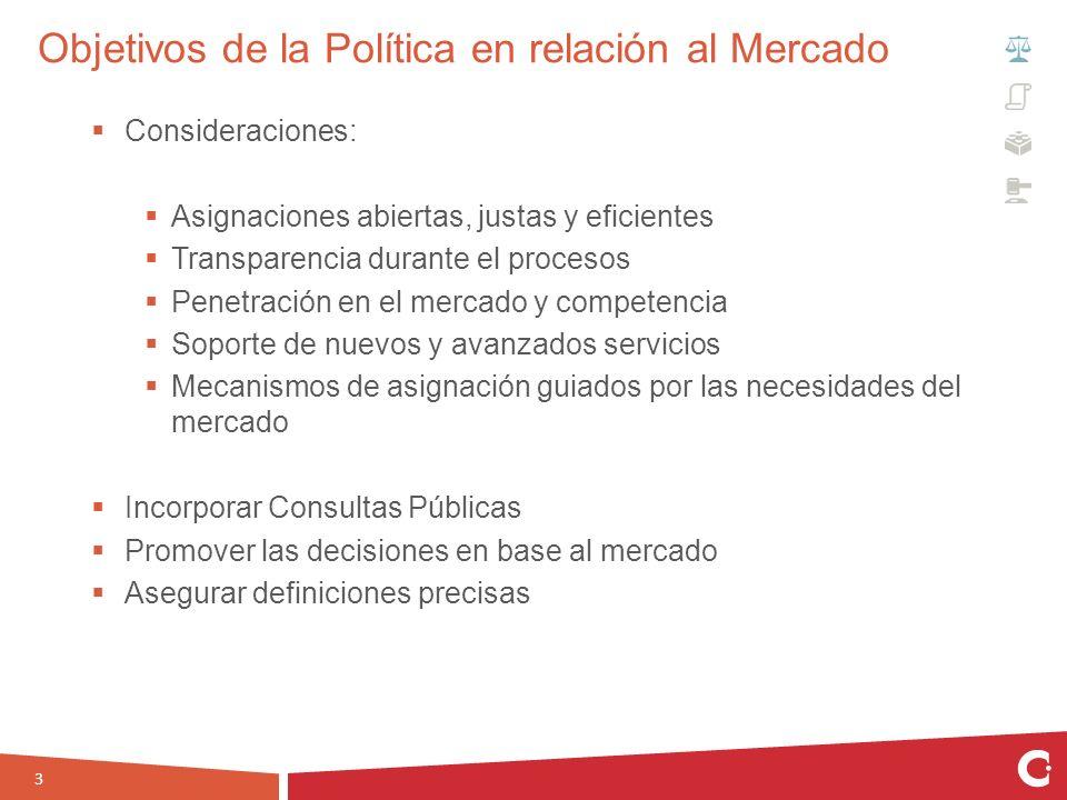 Objetivos de la Política en relación al Mercado