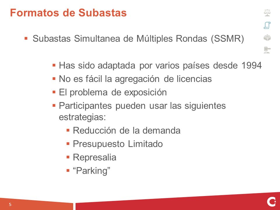 Formatos de Subastas Subastas Simultanea de Múltiples Rondas (SSMR)