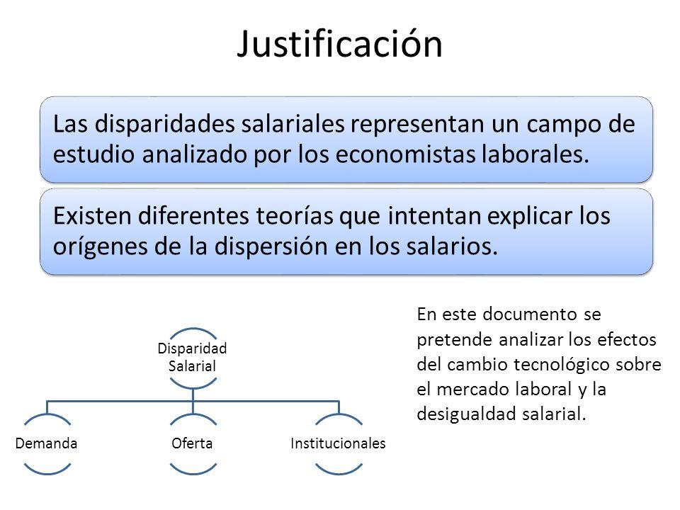 Justificación Las disparidades salariales representan un campo de estudio analizado por los economistas laborales.