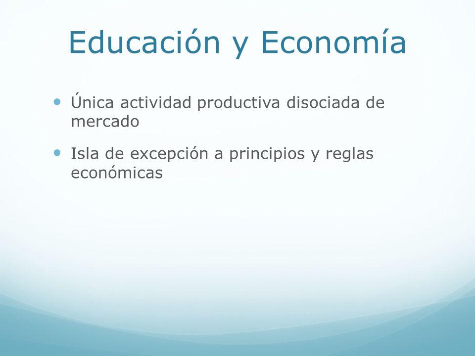 Educación y Economía Única actividad productiva disociada de mercado